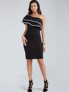 Ericdress Plain Ruffled Collar Patchwork Above Knee Bodycon Dress