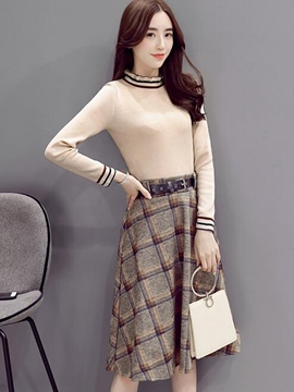Ericdress Ruffled Collar Stripe Sweater Plaid Skirt Suit