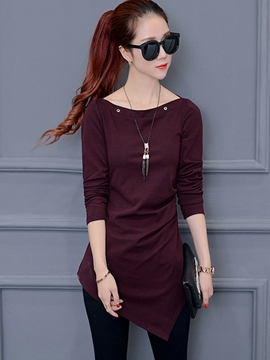 Ericdress Solid Color Oblique Trim Slim T-Shirt