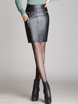 Ericdress PU High-Waist Zipper Column Skirt