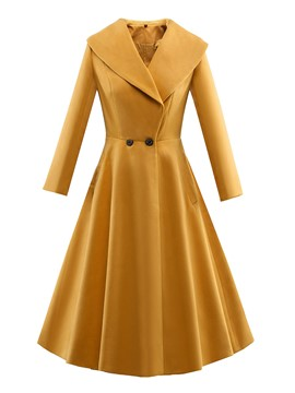 Ericdress Turn-Down Slim Wave Cut Trench Coat