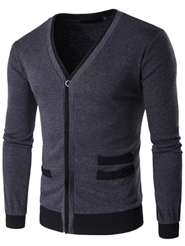Ericdress Patchwork Slim Single-Breasted Men's Knitwear