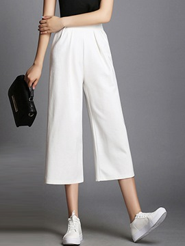Ericdress Pleated High-Waist Wide Legs Pants