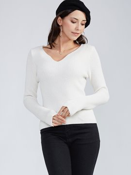 Ericdress Slim Plain Pullover Thick Knitwear