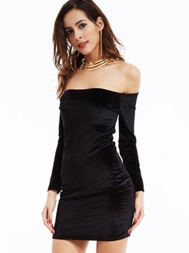 Ericdress Sexy Plain Slash Neck Sexy & Clubwear Dress