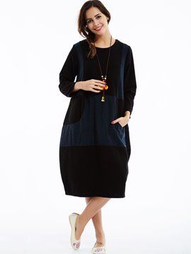 Ericdress Patchwork Color Block Round Neck Lantern Casual Dress