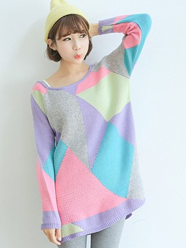 Ericdress Color Block Pullover Fashion Knitwear