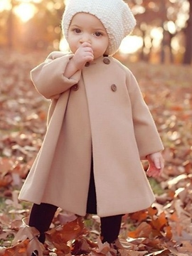 Ericdress Double-Breasted Plain Girls Wool Coat