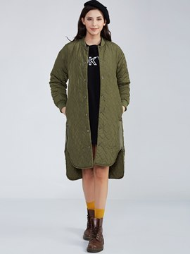 Ericdress Round Collar Single-Breasted Cotton Coat