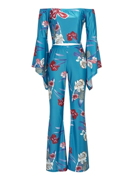 Ericdress Floral Print Slash Neck Pleated Backless Pants Suit