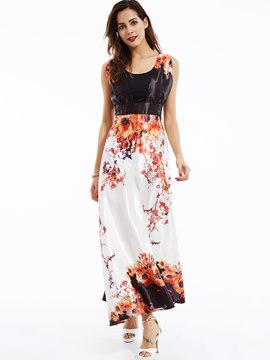 Ericdress Round Neck Sleeveless Flower Printed Maxi Dress