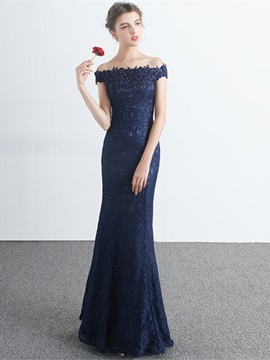 Ericdress Sheath Off-the-Shoulder Appliques Beading Lace Evening Dress