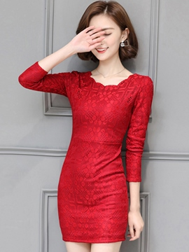 Ericdress Embossing Patchwork Wave Cut Round Collar Bodycon Dress