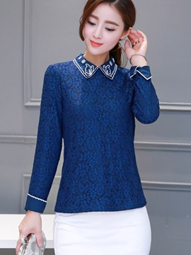 Ericdress Square Collar Royal Blue Blouse