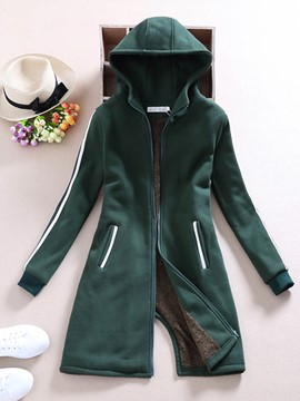 Ericdress Slim Color Block Fleece Hoodie