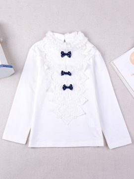Ericdress Bow Lace Stand Collar Girls T-Shirt