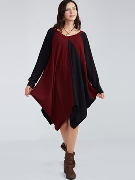 Ericdress Color Block V-Neck Asymmetrical Casual Dress