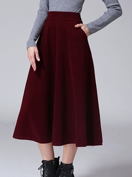 Ericdress Plain Color Pleated Expansion Skirt