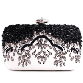 Ericdress Black White Beaded Evening Clutch
