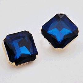 Ericdress Royal Blue Quadrangle Design Diamante Earrings