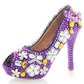 Ericdress Purple Rhinestone Peep Toe Wedding Shoes