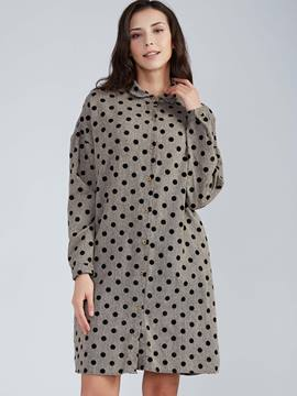 Lapel Single-Breasted Polka Dots Day Dress