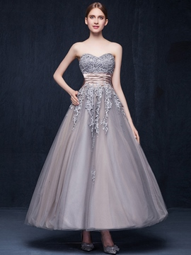 Ericdress A-Line Sweetheart Appliques Sashes Ankle-Length Evening Dress