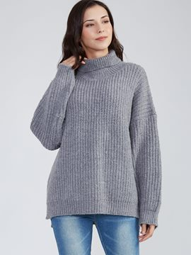 Ericdress Loose Plain Turtleneck Pullover Knitwear
