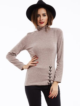 Ericdress Slim Lace-Up Turtleneck T-Shirt
