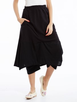 Ericdress Loose Color Block Wide Legs Pants