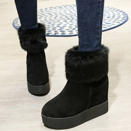 Ericdress Suede Round Toe Fur Ankle Boots