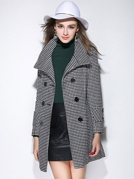 Ericdress Straight Double-Breasted Houndstooth Coat