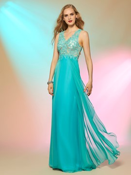 Ericdress Sweet A-Line V-Neck Appliques Beading Pearls Long Prom Dress