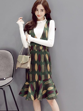 Ericdress Ruffled Collar Suspenders Sweater Dress Suit