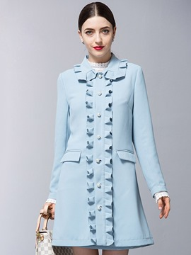 Ericdress Solid Color Slim Beads Trench Coat