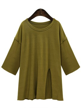 Ericdress Plus Size Split Solid Color T-Shirt