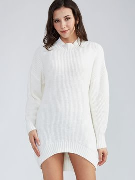 Ericdress Loose Plain Round Neck Pullover Sweater Dress