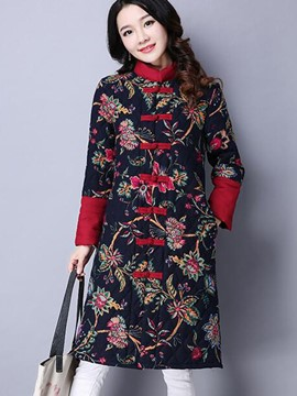 Ericdress Straight Printed Casual Coat