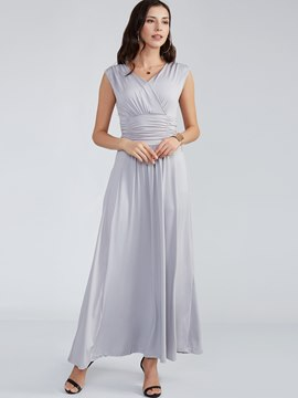Ericdress Plain Cross V-Neck Expansion Pleated Maxi Dress