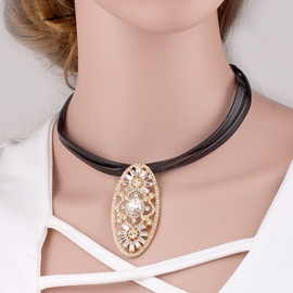 Ericdress Alloy Rhinestone Pendant Leather Necklace
