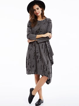 Ericdress Plain Loose Round Neck Worn Casual Dress