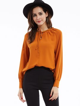 Ericdress Plain Round Neck Lantern Sleeves Blouse