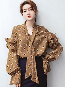 Ericdress Tie Bow Front Polka Dots Long Sleeve Blouse