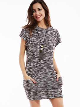 Round Neck Mottled Bodycon Dress