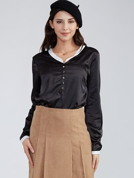 Ericdress Plain V-Neck Single-Breasted Blouse