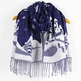 Ericdress Christmas Snowflake Jacquard Tassels Scarf