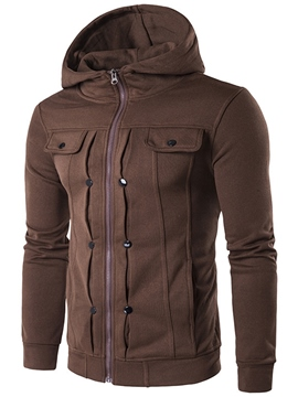 Ericdress Plain Zip Unique Casual Men's Hoodie
