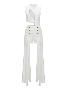 Ericdress Asymmetric Pleated Hollow Skinny Jumpsuits Pants