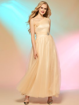 Ericdress Pretty A-Line One-Shoulder Beading Ruched Ankle-Length Prom Dress