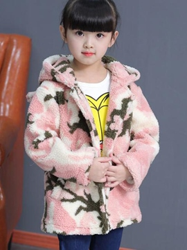 Ericdress Tie-Dye Hooded Wool Girls Coat